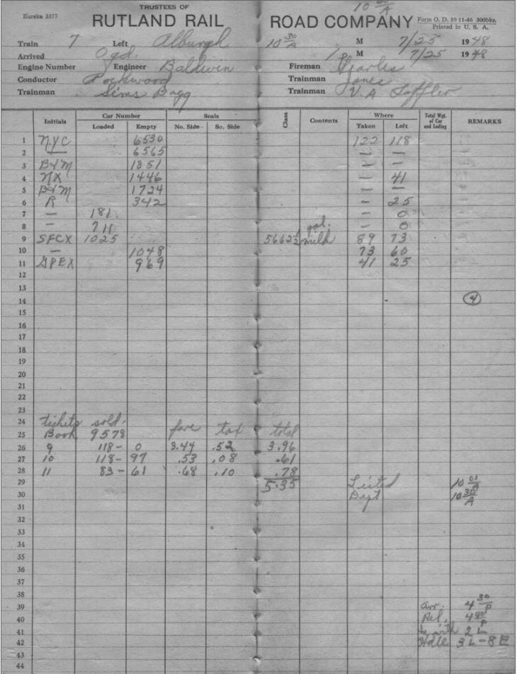 O&LC Train 7 7-25-1948