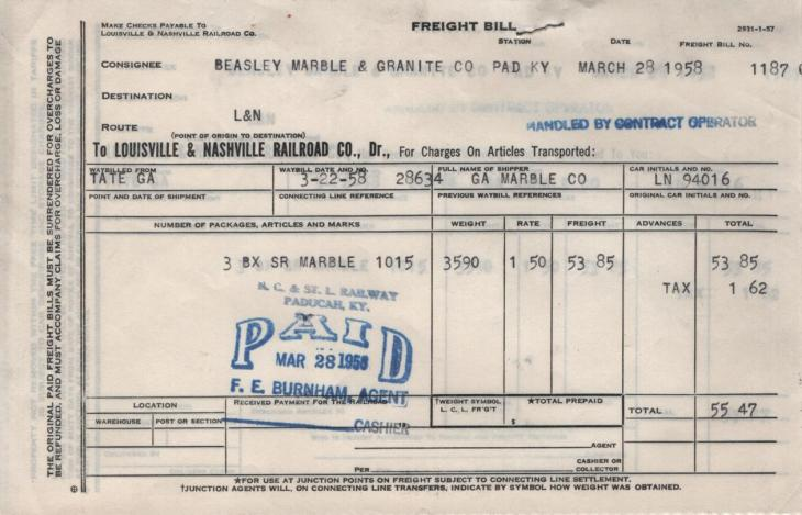Beasley Marble and Granite Freight Bill