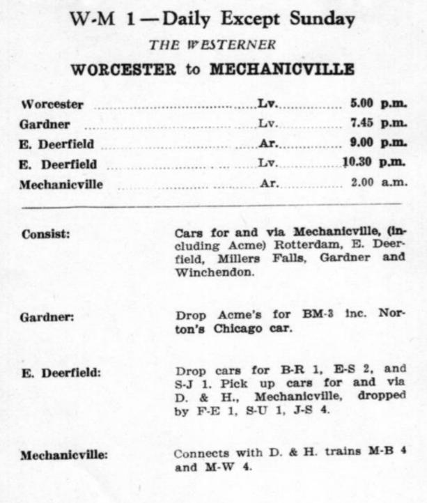 B&M WM-1 1953 Schedule