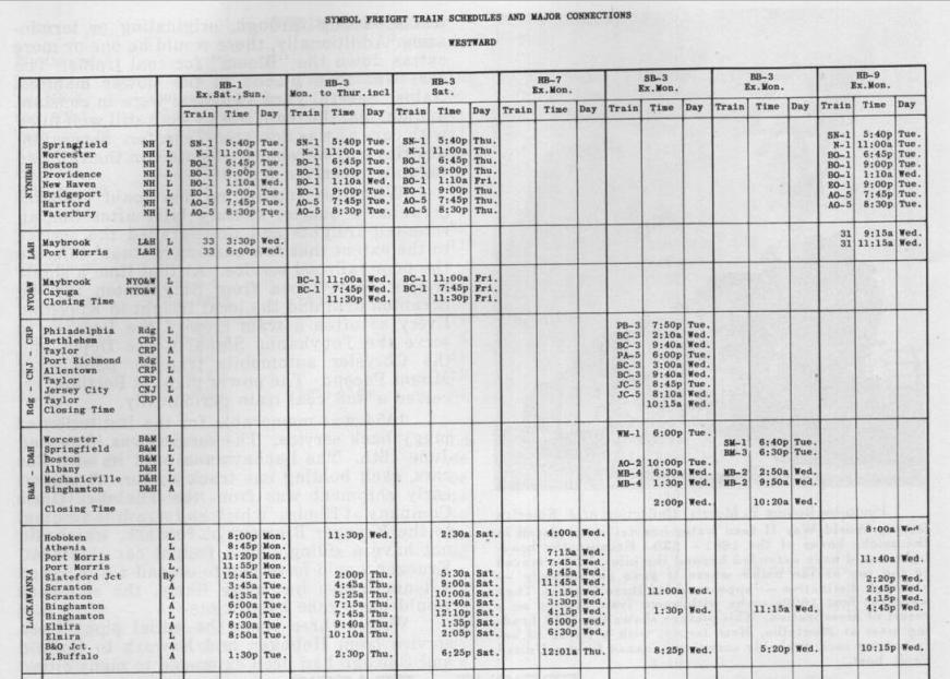 DLW Freight Schedule 1949