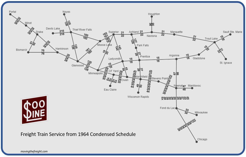 Soo Line 1964 Freight Schematic