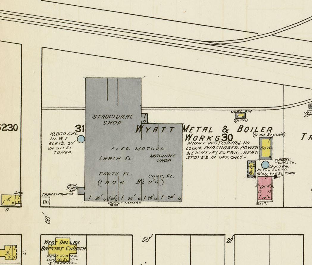 Wyatt Metal and Boiler Dallas Sanborn Map